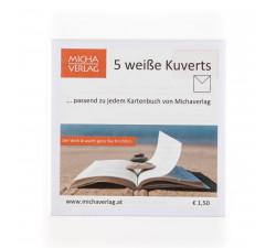 5 weiße Kuverts, passend zu Kartenbuch